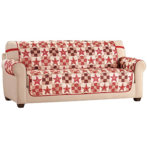 Furniture Cover Protector in Country Star Patchwork w/ Elastic Straps, Sofa (Strap Furniture Collections)