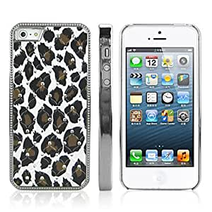 SHOUJIKE Diamond Look Leopard Print Pattern PC Hard Case with Electroplated Frame for iPhone 5/5S
