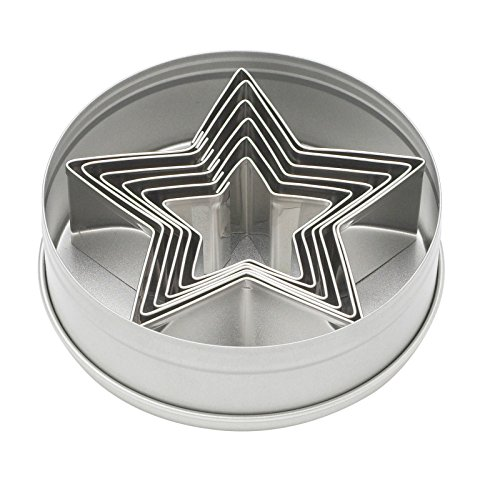 Harold Ateco Stainless Steel Graduated Star Cookie Biscuit Pastry Cutter 6pc Set