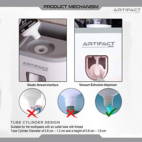 Artifact Dots Toothpaste Dispenser, Hair Dryer Holder Bundled, Multifunctional Toothbrush Holder Wall Mounted, Toothbrush Holder for Bathroom, Toothpaste Holder (2 Cups)