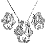 Yoursfs Couple Cat Jewelry Set For Women 18K White GP Cute CZ Kitte Pendant Necklace & Stud Earrings Set