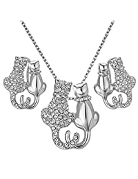 Yoursfs Double Cats Kittt Jewelry Set For Women 18K White Gold Plated Snuggling Necklace and Earring Sets for Gifts
