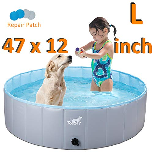 Toozey Foldable Dog Pet Pool, Collapsible Heavy Duty PVC Kiddle Pool Pet Pool - Slip Resistant Material Bathing Tub for Dogs Cats and Kids
