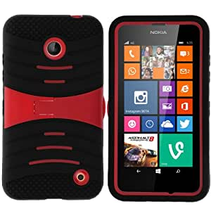 MINITURTLE, Premium Durable Rugged Shell Hybrid Protective Phone Case Cover with Built in Kickstand and Clear Screen Protector Film for Prepaid Windows Smartphone Nokia Lumia 635 from /AT&T, /T Mobile, /MetroPCS (Black / Red)