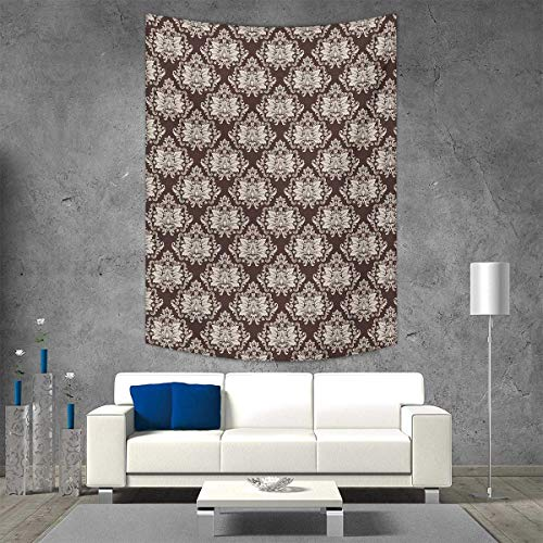 (smallbeefly Damask Tapestry Wall Tapestry Victorian Floral Pattern Blooming Foliage Leaves on Dark Toned Backdrop Art Wall Decor 60W x 91L INCH Brown Beige)