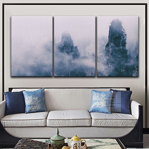 3 Panel Mountain Peak in the Mist x 3 Panels