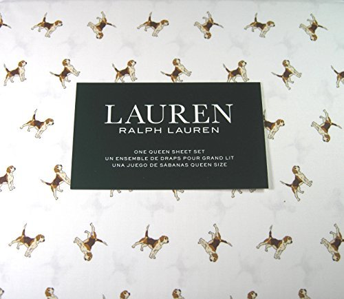Ralph Lauren Dog - Lauren 4 Piece Queen Size Sheet Set Beagle Dogs 100% Cotton
