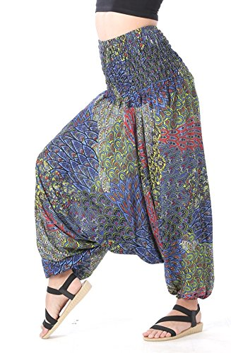 CandyHusky Women Gypsy Hippie Boho Baggy Loose fit Elastic Jumpsuit Harem Pants (Peacock Tail Blue) by CandyHusky (Image #2)