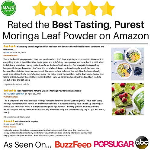 MAJU's Organic Moringa Powder, Oleifera Leaf, Extra-Fine Quality, Dried  Drumstick Tree Leaves,