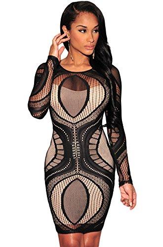 Noir Dentelle Nude Illusion robe Bodycon à manches longues Club Wear Taille/S 8–10