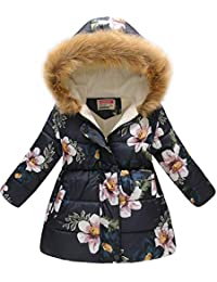 c14732363a78 Girl s Kids Toddler Winter Flower Print Parka Outwear Warm Cotton Coat  Hooded Jacket