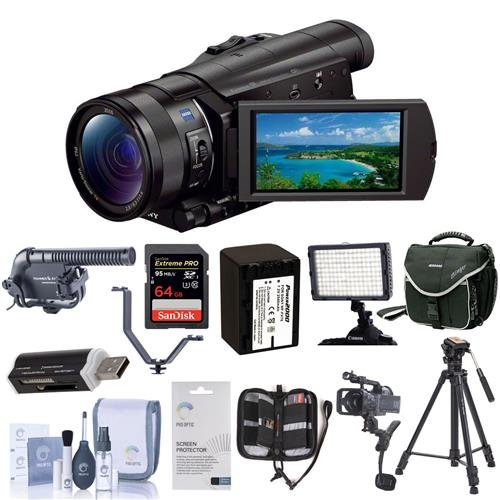 Sony FDR-AX100 4K Ultra HD Camcorder With Upgrade Accessory Bundle (Adorama Slinger Bag)