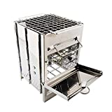 Stainless Steel Wood Stove Portable Camping Charcoal Grill Heat Control Barbecue Grill for Home Outdoor Patio Backyard-21cm15cm15cm