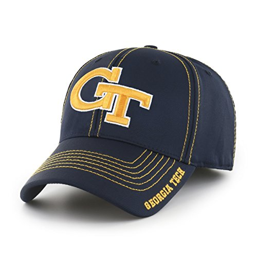 (NCAA Georgia Tech Adult Start Line Ots Center Stretch Fit Hat, Medium/Large, Navy)