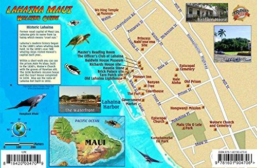 Price comparison product image Lahaina Historic Walking Tour & West Maui Map Hawaii Franko Maps Laminated Card