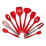 4 slotted toasters - Silicone Kitchen Utensil 10 Piece Cooking Set Large Spoonula Small Spoonula Basting Brush Whisk Pasta Fork Spoonula Tong Slotted Spoon Ladle Easy To Use Clean,Red