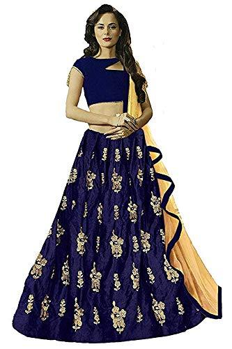 76eea283ba MAA LHODAL FASHION Women s Taffeta Silk Lengha Choli (Blue