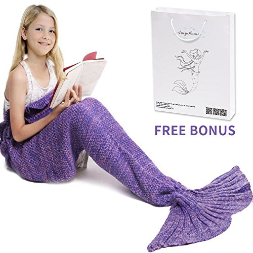 Mermaid Tail Blanket, AmyHomie Crochet Mermaid Blankets Disney Litter Mermaid Tail Blanket for Kids All Seasons Sleeping Blankets for Girls (55x28in Purple)