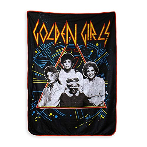 JUST FUNKY Official Golden Girls, Sherpa Fleece/Travel Cozy, Throw Blanket with Digital Printing, 45 X 60 inches ()