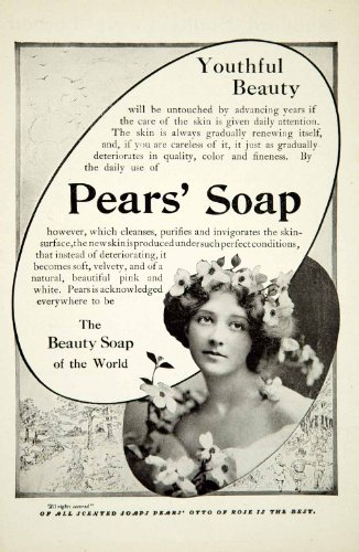 1912 Ad Pears Soap Health Beauty Art Nouveau Household Flowers Domestic Life - Original Print Ad from PeriodPaper LLC-Collectible Original Print Archive