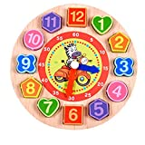Dinglong Cartoon Animal Educational Toys and Games For Children Geometric Figure Wooden Beaded Digital Clock - Age Over 3 Year Old Child Toys (A)