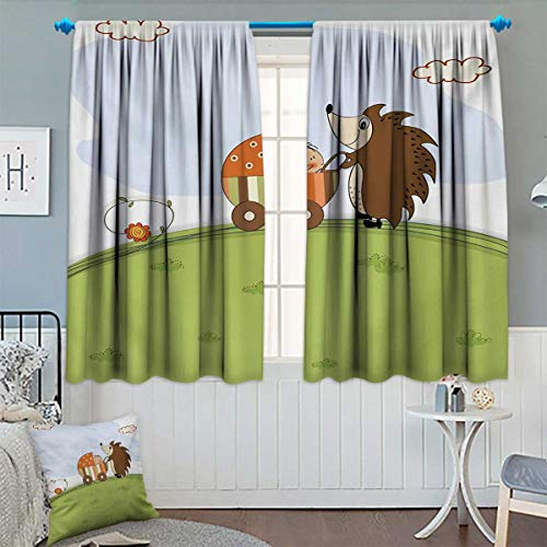 Chaneyhouse Funny Thermal Insulating Blackout Curtain Baby Shower Theme A Hedgehog Pushing a Stroller with Baby Illustration Patterned Drape for Glass Door 72