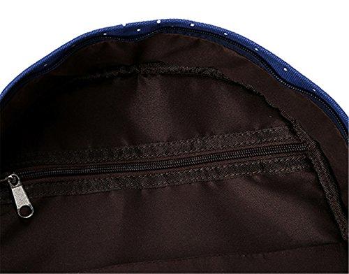 Mochila de gran capacidad del lunar de la moda geométrico mochilas de lona de ocio para las muchachas adolescentes escuela de los muchachos (negro) (Rosa roja