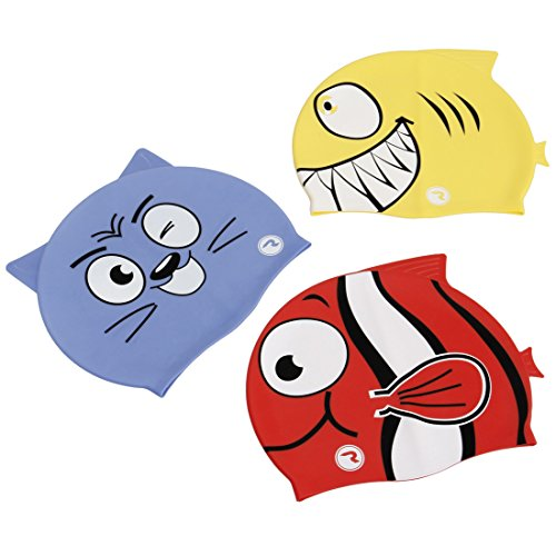 Water Polo Cap Set - RoryTory 3 Piece Kids Fish and Animal Cartoon Design Silicone Swimming Cap Set