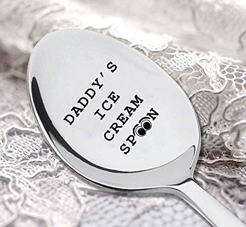 Daddy's ice cream spoon with cute little Eye symbol, Father's day gift |Spoon Gift for dad | Gift for Ice Cream Lover