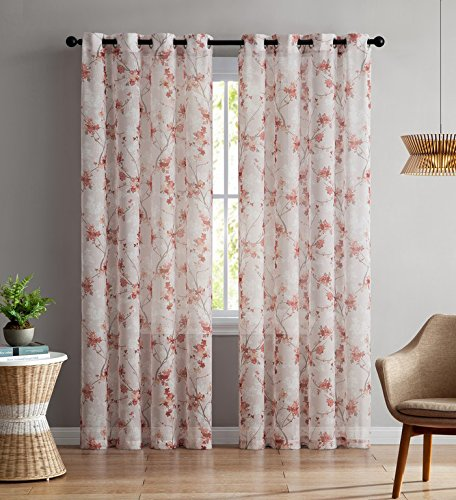 Set of Two (2) Sheer Window Curtain Panels: Grommets, Coral and Light Mauve Floral Design 96