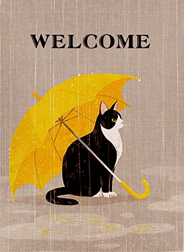 Dyrenson Cat Decorative Double Sided Garden Flag Yellow Welcome Cat, House Yard Flag Kitten Quote, Funny Garden Yard Decorations, Home Umbrella Outdoor Flag 12.5 x 18 Spring Summer