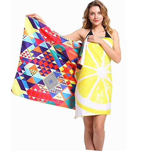Sand Free Travel Beach Towel Blanket-Quick Fast Dry Super Absorbent Lightweight Thin Microfiber Towels for Pool Swimming Bath Camping Yoga Gym Yellow Lemon Kaleidoscope Bohemian -