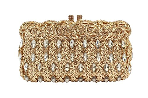 Yilongsheng Shining Rhinestones Vines Wedding Cocktail Party Tote Handbags and Clutch Bags for Women(Gold) by YILONGSHENG