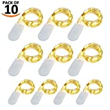 [10-PACK] LED String Lights, LED Moon Lights 20 Led Micro Lights On Silver Copper Wire ( Batteries Include) For DIY Wedding Centerpiece, Table Decoration, Party (warm white)