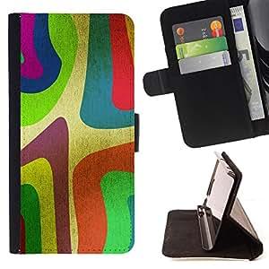- ART STRIPE WALLPAPER PAINTING NEON COLORFOL - - Prima caja de la PU billetera de cuero con ranuras para tarjetas, efectivo desmontable correa para l Funny HouseFOR Samsung Galaxy Note 3 III