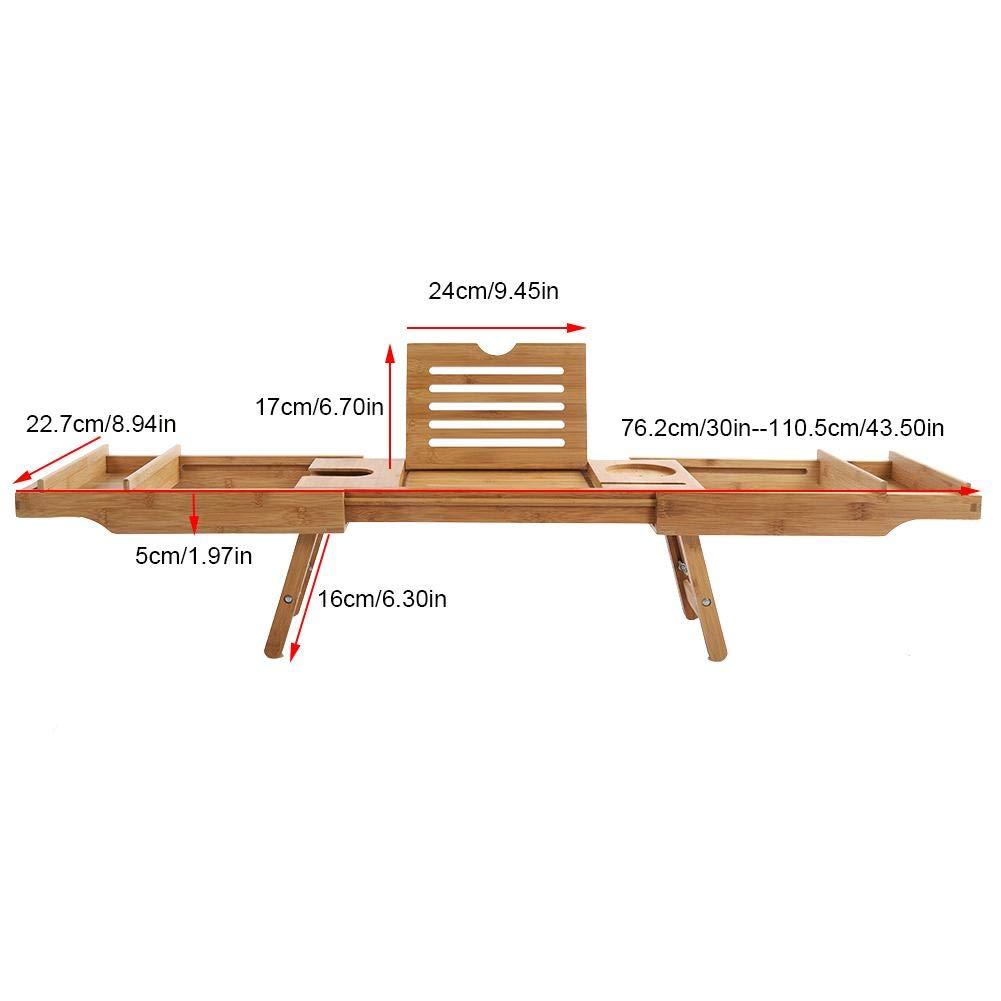 Sofa und Bett,110.8 x 22.5 x 21cm zur Benutzung auf Wanne lyrlody Badewanne Caddy 2 in 1 Erweiterung Badewannenbretter Bambus Badewanne Tablett Badetisch mit ausziehbaren Beinen