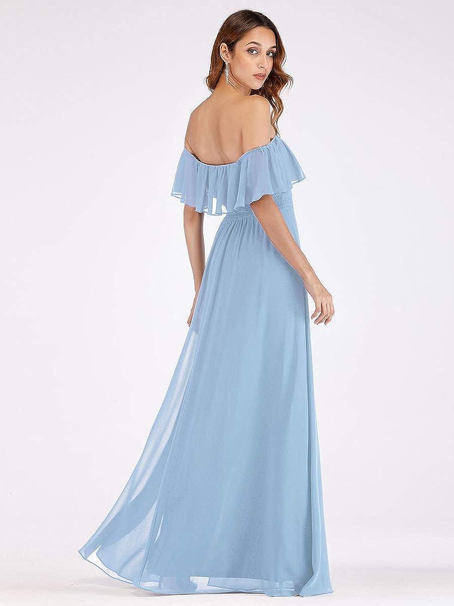 Ever-Pretty Vestidos de Fiesta Gasa Abertura Fuera del Hombro A-l/ínea Corte Imperio Hoja de Loto para Mujer 00968