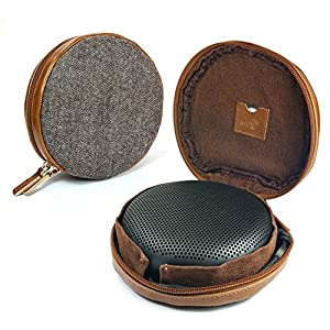 Tuff Luv Herringbone Tweed NFC Travel Case for Bang & Olufsen B&O BeoPlay A1 Bluetooth speaker - Brown MP3 and MP4 Player Accessories