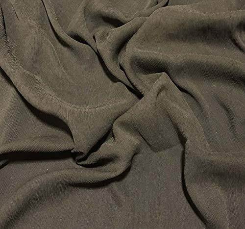 (Olive Green - Crinkle Silk Chiffon Fabric)