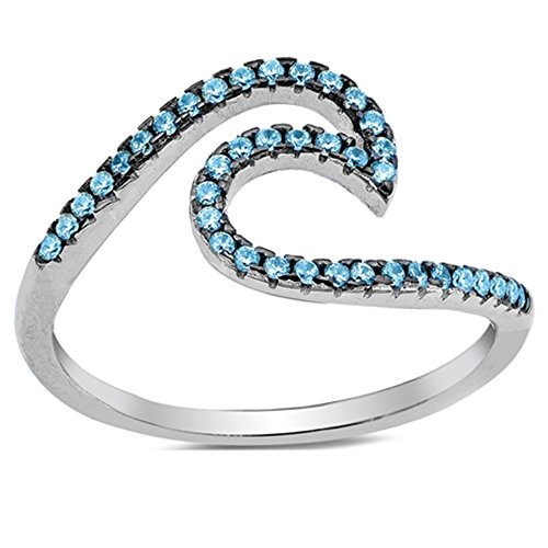 Ocean Wave Cubic Zirconia Ring - Wave Ocean Beach Blue Cubic Zirconia .925 Sterling Silver Ring Sizes 6