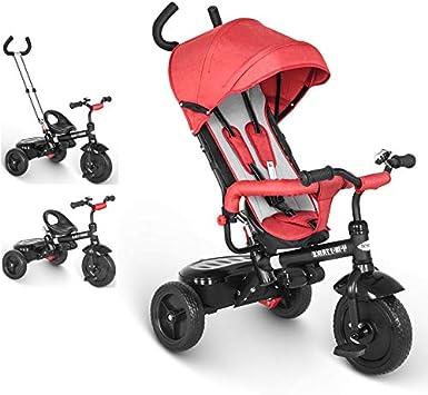 besrey Triciclo evolutivo 4 en 1 triciclos bebé Trike Bicicleta para Bebe Nino protección contra la Lluvia (1-6 año) Rojo: Amazon.es: Juguetes y juegos