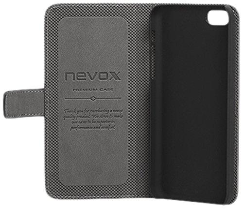 Nevox Ordo Book Tasche Schwarz-Grau für Apple iPhone 5/5S