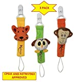 Black Friday deal Fun Animal Pacifier holder Clips 3 Pack by Kaituna. Hand made unisex Pacifier clip for teething ring & other toys for baby boys and girls.Baby shower birthday & Christmas ideas.