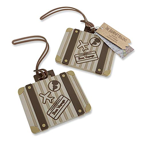 96 Kate Aspen Brown Stripes Rubber Let The Journey Begin Vintage Suitcase Luggage Tag Destination Wedding Thank-You Gifts Bridal Shower Party Souvenir ()