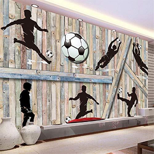 Pbldb Custom Size Deep Embossed 3D Wooden Block Football Playing Photo Mural for Bar Boy Room Living Room Background Decor Wallpaper-250X175Cm