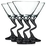 Libbey Black Z Shaped Stem Martini Glasses with Colored Accent - 9 oz. Set of 4- Additional Vibrant Colors Available by TableTop King