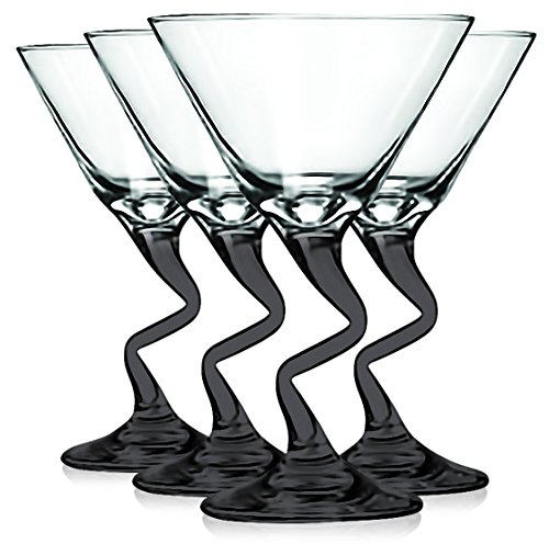 Libbey Black Z Shaped Stem Martini Glasses with Colored Accent - 9 oz. Set of 4- Additional Vibrant Colors Available by TableTop King]()
