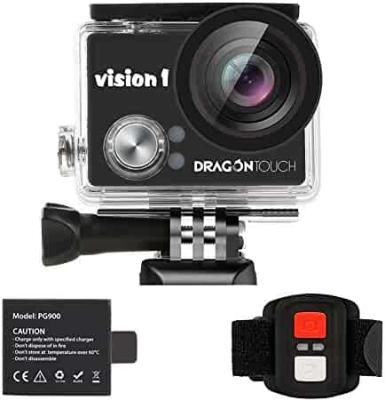 Dragon Touch Kids Action Camera 1080P Waterproof Camcorder Video Sports Cam Underwater with Remote for Children Holiday Learn Camera Toy Vision 1