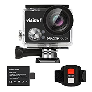 Dragon Touch Vision 1 Action Cam for Kids 1080P Waterproof Camcorder w/ Remote