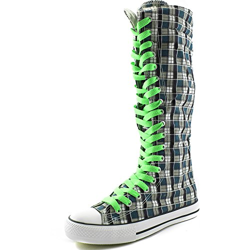 Calf Grassy DailyShoes Green Flat Boots Tall Boots Punk Plaid Blue Womens Wht Canvas Casual Lace Sneaker Mid Z6qw6rUt